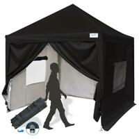 Quictent 8x8 ft EZ Pop Up Canopy Tent Instant Gazebo with Sides Roller Bag Black