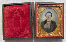 More details for antique ambrotype or daguerrotype 1/9 plate of a young man in original case