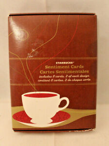 Starbucks Coffee Sentiment Cards Messages 12 Card Envelope 4 Kind Set 2008 Rare