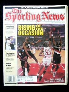 Michael Jordan June 15,1992 Cover of The Sporting News Rising to the Occasion