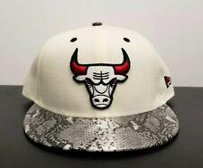 "NEW ERA 9FIFTY NBA CHICAGO BULLS SNAPBACK ""SNAKESKIN"" BILL RED BLACK CREAM NEW"