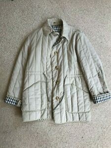 Aquascutum Ladies coat. Beige slightly quilted, check inside, pockets. VGC