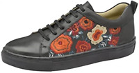 Ladies Ravel Garo Embroidered Lace Up Black leather Trainer Sneakers Shoes