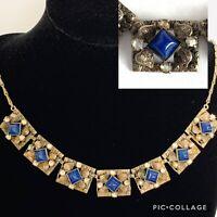 Art Nouveau Deco Necklace Silver Tone Blue Glass Lapis Square Chain Leaf