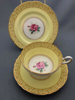 Rare Paragon Pale Yellow with Pink Rose Design Trio.Stunning.