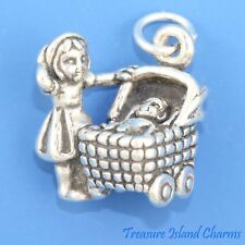 Girl With Baby In Carriage Pram 3D .925 Solid Sterling Silver Charm MADE IN USA