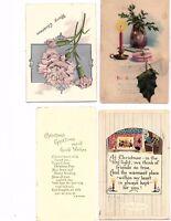 1920's Vintage Christmas Postcards lot of 4