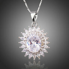 Sparkly Clear White Zircon Sunflower Pendant White Gold Plated Chain Necklace