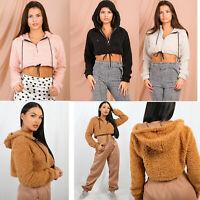 Ladies Warm Teddy Bear Faux Fur Zip Up Cropped Hoodie Sweatshirt Size 6-14