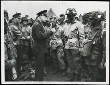 WWII D-Day 1944 Ike & Paratroopers 101st Airborne Type 1 Original Photo *Iconic*