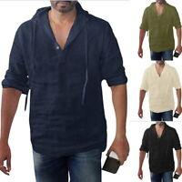 Mens Cotton Linen T Shirt V Neck Long Sleeve Hooded  Pullover Hoodie Blouse 32