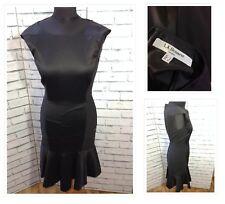 Gorgeous L K Bennett Stretch Wool Wiggle Peplum Dress Black Sleeves Less Size 6