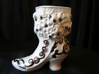 VINTAGE CERAMIC VICTORIAN LUSTERWARE CREAM & BROWN BOOT VASE PLANTER MID CENTURY