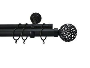 Metal Double Curtain Pole Rail Rod 2m & 4m Black Osaka Ball Finial 28mm & 19mm