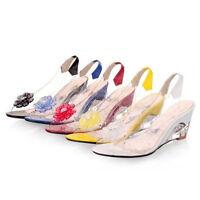Womens Slingback Sandals Transparent Rhinestone Open Toe Med Heel Wedge Shoes SZ