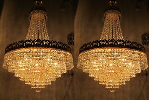 A Pair Antique Vnt Austrian & Real Swarovski Crystal Chandelier Lamp 1950s 18in