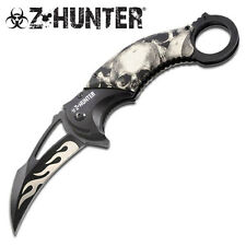 ZOMBIE HUNTER GREY SKULL FLAMING CAMO Spring ASSISTED Open KARAMBIT Knife NEW!