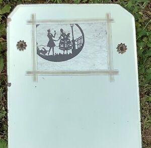 UNUSUAL Antique Art Deco era Frameless ETCHED Picture Frame MIRROR
