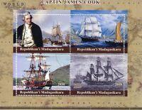 Madagascar 2018 CTO Captain James Cook Endeavour 4v M/S Boats Ships Stamps