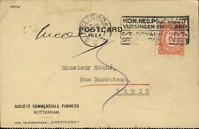 PAYS-BAS / NETHERLANDS 1924 Mi.108 12 1/2c Vermilion /Postcard Rotterdam-Paris