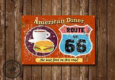 ROUTE 66, DINER,COLLECTABLE, ENAMEL, METAL,SIGN,382