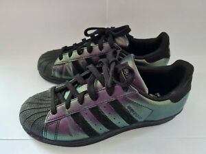 ADIDAS SUPERSTAR BLACK/PURPLE PEARLESCENT TRAINERS SIZE 5 ADULT