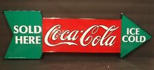 Coca-Cola Metal Arrow Sign Vintage Advertising Ice Cold Sold Here Collectible