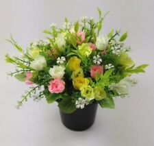 All round Artificial/Silk flower Grave Arrangement in memorial Crem pot HandMade
