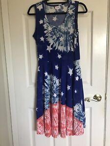 NWOT LuLaRoe Nicki Dress, Sleeveless, Red/White/Blue - Size Med