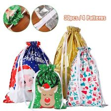 NEW Christmas Party Gift Foil Drawstring Bags Packing Stocking Candy Favour Bags