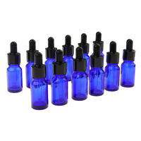12x 10ml Empty Glass Bottle Empty Eye Dropper Aroma Essential Oil Vials Blue