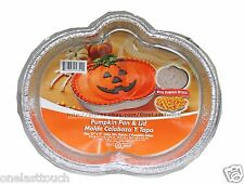 HALLOWEEN One Set PUMPKIN PAN & LID Great For Parties ALUMINUM FOIL Designed