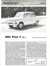 NSU PRINZ 4 598cc AUTOCAR 1962 ROAD TEST REPRINT 'SALES BROCHURE' SHEET