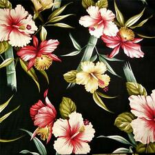Trendtex Hawaiian Print Cotton Fabric Koki'o Ke'oke'o & 'Ohe on Black Per 1/2 Y