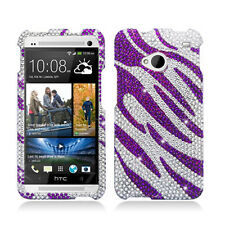 For HTC ONE / M7 Crystal Diamond BLING Hard Case Phone Cover Silver Purple Zebra