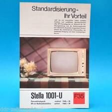 Fernsehtischgerät Stella 1001-U DDR 1969 59-Bildr. Prospekt Werbung DEWAG F35 B