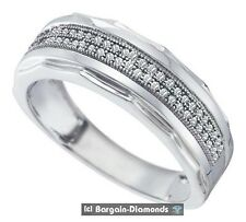 dress anniversary 925 white bling man mens diamond wedding ring band .20 carats