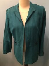 Dana Kay Women's Sz 16 Turquoise Suede Like Lightweight Jacket/Coverup EUC