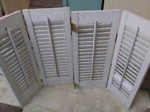 "Vintage Set Interior Window Shutters White Wood Louver Plantation 17"" W x 23"" H"