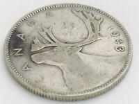 1943 Canada Twenty Five 25 Cent Quarter Silver Circulated George VI Coin K138