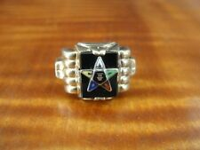 Vintage OB Eastern Star with Enamel Black Onyx 10K Yellow Gold Ring Size 8
