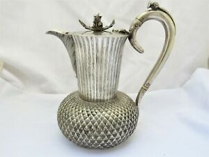 VICTORIAN NOVELTY SILVER PLATED SCOTTISH THISTLE DESIGN HOT WATER JUG