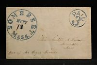 Massachusetts: Somerset 1850s Stampless Cover, XF Blue CDS, PAID 3 in Circle