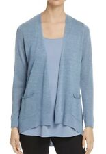 NEW EILEEN FISHER POND SLEEK TENCEL MERINO KNIT SLOUCHY  CARDIGAN L $ 238