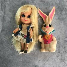 1967 Vintage Mattel Liddle Kiddle Alice & White Rabbit Collectible Dolls