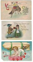 3 Antique Valentine Postcards Cupid in Dirigible Blimp Cowboy & Horse Embossed