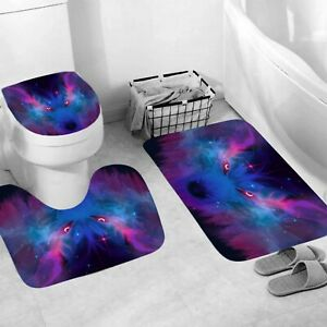 Wolf Shower Curtain Bathroom Rug Set Thick Bath Mat Non-Slip Toilet Lid Cover