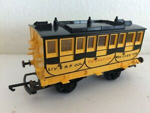 TRIANG R621 ROCKET COACH YELLOW BLACK LIVERPOOL MANCHESTER DECALS VGC HORNBY