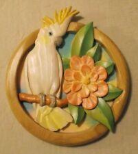 BARBARA SORENSON ART SCULPTURE COCKATOO & FLOWER WALL SHIELD 2004 SIGNED (B9)