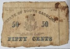 1863 The Bank of South Carolina Palm Tree 50 Cents Confederate Currency Note
